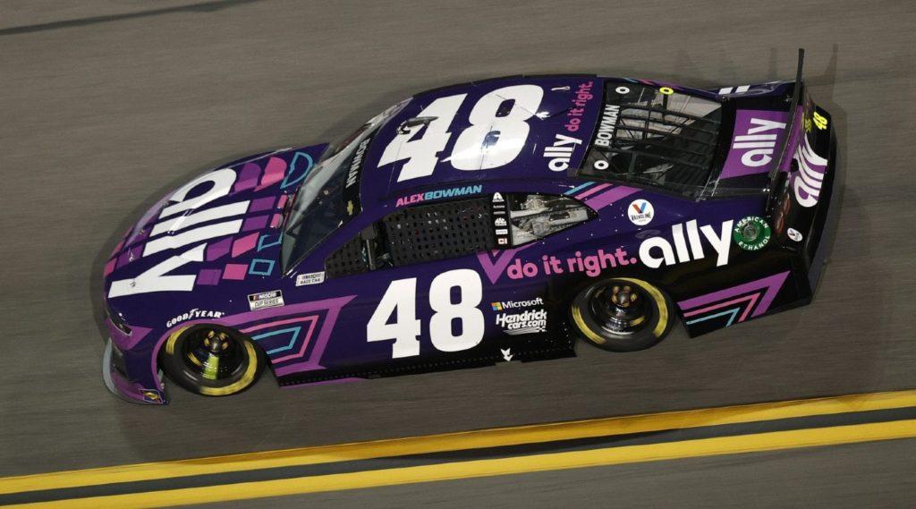 Alex Bowman #48 Chevrolet with purple Ally paint scheme